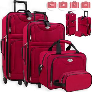 KESSER® 4tlg Trolley Kofferset | Reisekoffer Set  mit Rollen | Komplettes Business 4er Set | S M L XL | Netzfach | Rollen | Teleskopgriff | Koffer Reisetaschen Stoffkoffer | Handgepäck |, Farbe:Rot