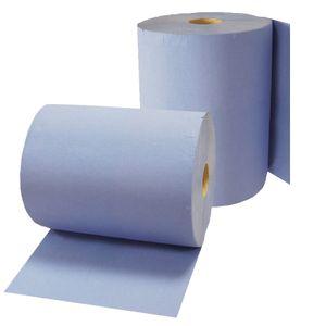 2x Putzrolle Komfort (3-lagig), 500 Blätter/Rl. in blau, Papier-Rolle, Putztuch, Putzpapier