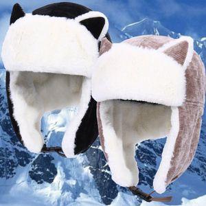 Schwarz Lei Feng Kappe + Ohrenklappen Winddicht Winter Skimütze Wintermütze Katzenohren Trapper Hut Warmer Cord