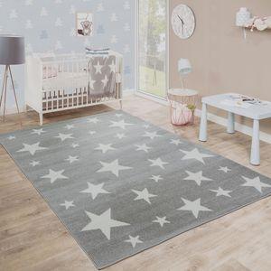 Moderner Kurzflor Kinderteppich Sternendesign Kinderzimmer Star Muster Grau Weiß, Grösse:120x170 cm