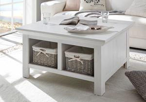 Couchtisch Tisch Wohnzimmertisch Westerland 93cm x 93cm pinie weiß