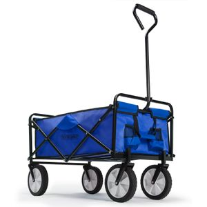 Bollerwagen faltbar klappbar Vollgummireifen Getränkehalter Handwagen Gartenwagen Transportwagen Strandwagen, Farbe:blau