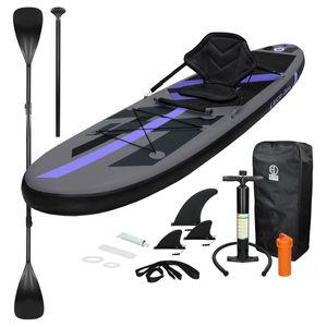 ECD Germany Aufblasbares Stand Up Paddle Board mit Kajak Sitz   305x78x15 cm   Schwarz   PVC   bis 120kg   inkl. Pumpe Tragetasche Zubehör   SUP Board Paddling Board Paddelboard Surfboard Sitzfunktion