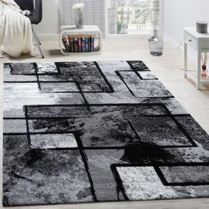 Designer Teppich Modern Kurzflor Abstrakt Gemälde Optik Schwarz Grau Anthrazit, Grösse:160x230 cm