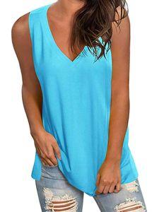 Damen V-Ausschnitt Ärmellose Weste Loses T-Shirt Casual Top,Farbe: Blau,Größe:XL