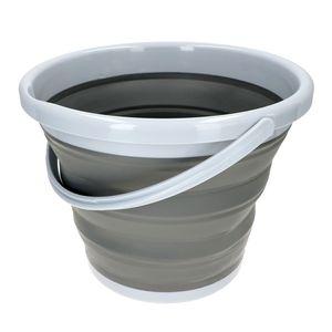 Faltbarer Eimer 10L Falteimer Grau Silikon/Kunststoff für Haus, Garten, Camping & Co.