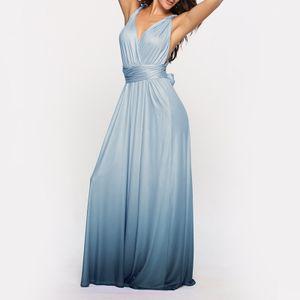 Frauen Cabrio Kleider Maxi Kleid Multi Way Ombre Abend Flowy Brautjungfer Party Cocktail Neujahr Formal Long Dress[Blau-XL]
