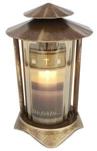 Grablaterne, Grableuchte, Grablicht aus Metall in hochwertiger Bronzeoptik 21 cm inkl. LED-Grablicht