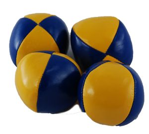 Jonglierball 6,3 cm in gelb-blau, glatt, Bean Bag - Jonglierbälle