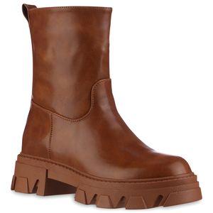 VAN HILL Damen Plateau Boots Stiefeletten Blockabsatz Profil-Sohle Schuhe 837849, Farbe: Hellbraun, Größe: 37