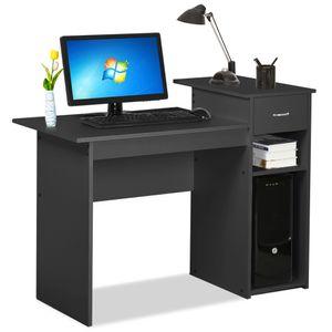Yaheetech Computertisch Schreibtisch mit Ablage, Bürotisch Arbeitstisch Laptoptische für Arbeitszimmer Büro Ordner Akten schwarz