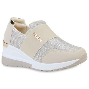 Giralin Damen Sneaker Profil-Sohle Keilabsatz Glitzer Schuhe 836622, Farbe: Beige Gold Metallic, Größe: 38