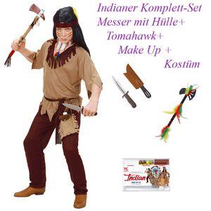 Kinder Komplett Set Indianer Kostüm + Messer, Tomahawk & Make- Up # Gr. 140