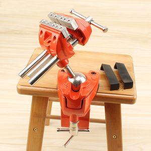 Schwenkbarer Tisch-Schraubstock dreht sich um 360 Grad drehbare Universaleinheiten Klemme Vize-Hochleistungs-Multifunktions-Tisch-Handwerkzeuge für die Maschinenreparatur (orange)