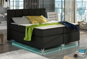 Boxspringbett Polsterbett Bett Bettkasten LED 160x200 Strukturstoff schwarz