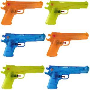 6 Stück Wasserpistole 20cm Kanone Klassiker Transparent Wasser Spritz Pistole