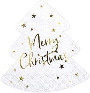 1 Pack Servietten Weihnachtsservietten Christmas Tree gestanzt ca 16x16,5 cm 20 Stück 3lagig