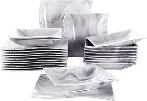 MALACASA, Serie Flora, Marmor Porzellan Tafelservice 24 Teiligen Set Kombiservice Geschirrset mit 12 Speiseteller und 12 Suppenteller für 12 Personen