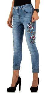 High Wasit Jeans Skinny Röhre Blumen Stickerei Flower Deko Strass, Farbe: Blau, Größe: 34