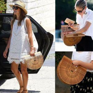 32*10cm Bambus Tasche Sommer Dame Tote Design Bambus Handtasche Stroh Reise Kult Gaia