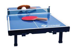 Donic-Schildkröt Tischtennis-Mini-Tisch, Mini-Tischtennistischplatte, komplettes Set mit 2 Schlägern und 1 Ball, Platte zusammenklappbar - Aktenkoffer-Größe, Blau, Abmessungen Platte: 68 x 33 x 9 cm