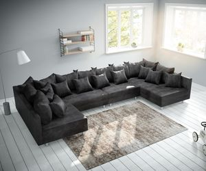 Couch Clovis XL Anthrazit Antik Optik Wohnlandschaft Modulsofa