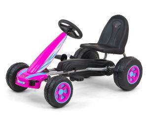 Go Kart VPX mit Sportsitz und Handbremse in Pink Tretauto für Kinder ab 3 bis 7 Jahren