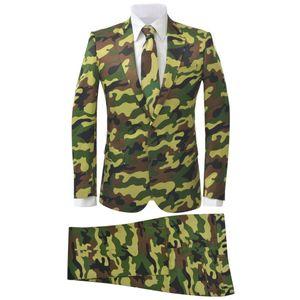 2-tlg. Herren-Anzug mit Krawatte Camouflage-Muster Größe 50