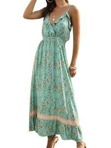 Damen Böhmisches Slingkleid mit V-Ausschnitt Bedruckter langer Rock mit Rüschen,Farbe: Grün,Größe:M