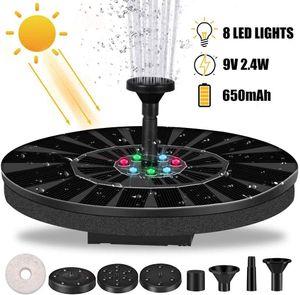 Solar Springbrunnen Mit LED Licht, 2,4 W Solar Teichpumpe Mit Solarpanel Eingebaute Batterie Wasserpumpe