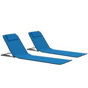 anlund Klappbare Strandmatte 2 Stk. Stahl und Stoff Blau
