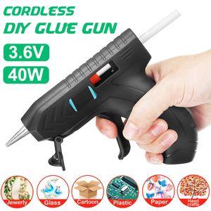 Scode 3,6 V kabellose DIY Heißklebepistolen 1800 mAh Li-Ion-Kleber Hand Craft Elektrowerkzeug mit 10 Stück Klebestiften