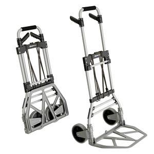 ATHLON TOOLS Aluminium Schwerlast-Sackkarre klappbar - Große leichtgängige Räder mit Soft-Laufflächen - inkl. 2 Expanderseilen - Farbe: schwarz + alu