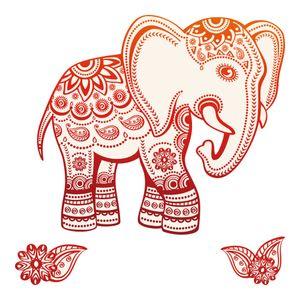 dekodino® Wandtattoo Indien Elefant Ornamente rot Wandsticker Deko