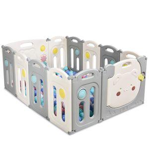 COSTWAY Laufgitter mit 12 Panels, Baby Laufstall, Absperrgitter aus Kunststoff, Krabbelgitter faltbar, Spielzaun für Kinder, Schutzgitter mit Tür und Spielzeugboard