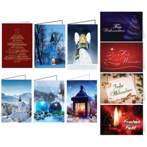 10er Set Weihnachtskarten Mix - 10 verschiedene Motive, mit Umschlag