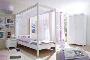 """Himmelbett Einzelbett """"LaLuna"""" Kiefer massiv (Weiß)"""