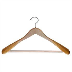 5er Set - MAWA Kleiderbügel Capitano - Buche natur lackiert mit Steg