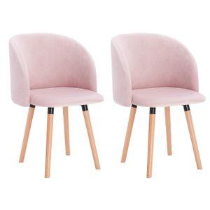 WOLTU 2er-Set Esszimmerstühle Küchenstuhl mit Armlehne, Sitzfläche aus Samt, Gestell aus Massivholz, Rosa