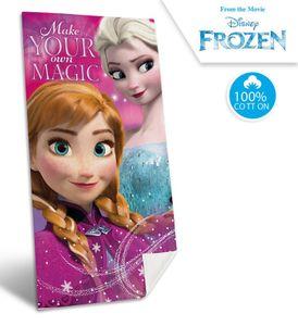 Disney Frozen Kinder Strandtuch mit Anna & Elsa, 70x140 cm, pink