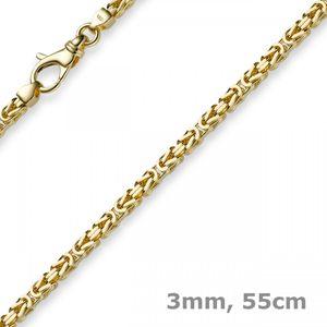 3mm Kette Halskette Königskette aus 585 Gold Gelbgold 55cm Herren Goldkette
