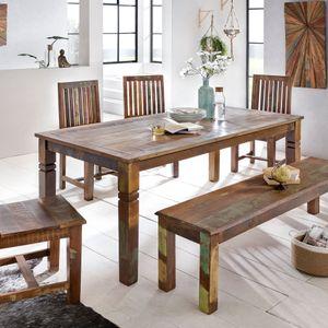 WOHNLING Esszimmertisch Kalkutta 180 x 90 x 76 cm | Massivholz Esstisch für 6-8 Personen | Großer Küchentisch Bootsholz Shabby Chic | Tisch Esszimmer rechteckig
