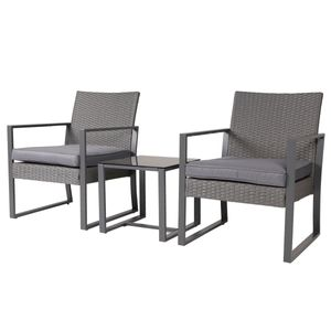 SVITA LOIS Poly Rattan Sitzgruppe Gartenmöbel Garnitur Tisch Sessel Set grau
