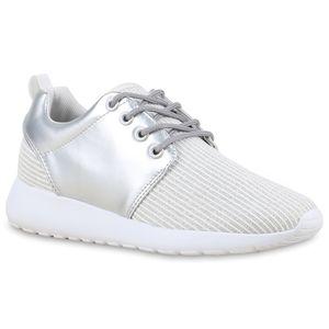 Mytrendshoe Damen Runners Sportschuhe Glitzer Metallic Laufschuhe Sneakers 814457, Farbe: Silber, Größe: 39