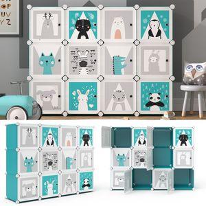 Vicco Kleiderschrank Andy Kinder blau modular 12 Fächer Kleiderstange Steckregal