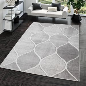 Wohnzimmer-Teppich, Kurzflor-Teppich Mit Orient-Design, Einfarbig In Grau, Größe:120x170 cm