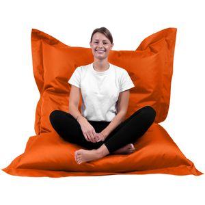 B58 Sitzsack Rechteckig Riesensitzsack Beanbag Sitzkissen Indoor Outdoor Sitzsäcke Kinder Bodenkissen Erwachsene Freizeit Schule Kindergarten Lounge (XL-XXXXL; 12 Farben)(XL= 145 x 100, Orange)