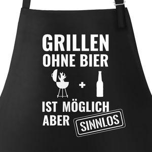 Grill-Schürze für Männer mit Spruch Grillen ohne Bier ist möglich aber sinnlos Grillen Baumwoll-Schürze Küchenschürze Moonworks® schwarz unisize