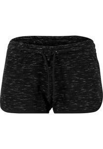 Urban Classics Damen Sweat-Shorts Space Dye Hotpants TB1519 Mehrfarbig Blk/Wht/Blk XS