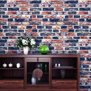 AUDEW 10 Stück Wandverkleidung Steinoptik 3D Wandpaneele Backstein Fliesen Ziegel Wandaufkleber 70x77cm Schwarz